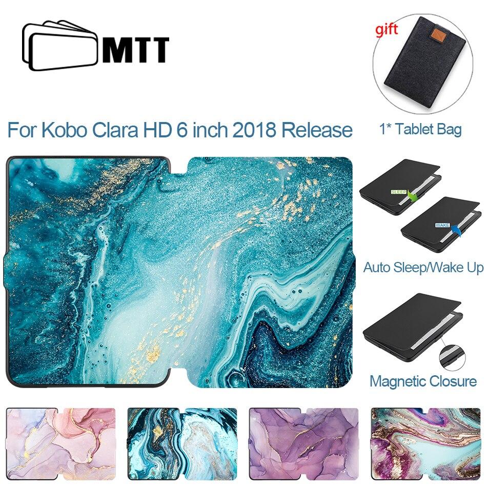 MTT di Marmo Del cuoio Per Kobo Clara HD 6 pollici di Cuoio DELL'UNITÀ di elaborazione Magnetica Smart Cover 2018 E-Book Ereader Protettiva Borsette Auto sleep/Wake
