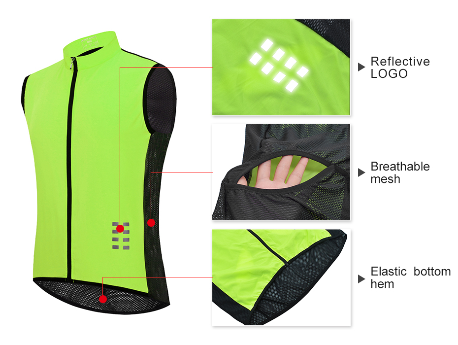 running - WOSAWE Cycling Vest Reflective Summer Running Sleeveless Hollow out Vest Windproof Mesh Fabric Breathable Clothes