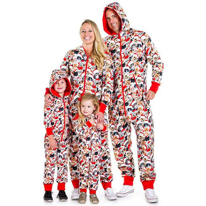 2020 New Family Hooded Lucky Cat Christmas Pajamas Set Xmas Matching Pyjamas Adult Kids Sleepwear Cat Print Hooded Jumpsuit