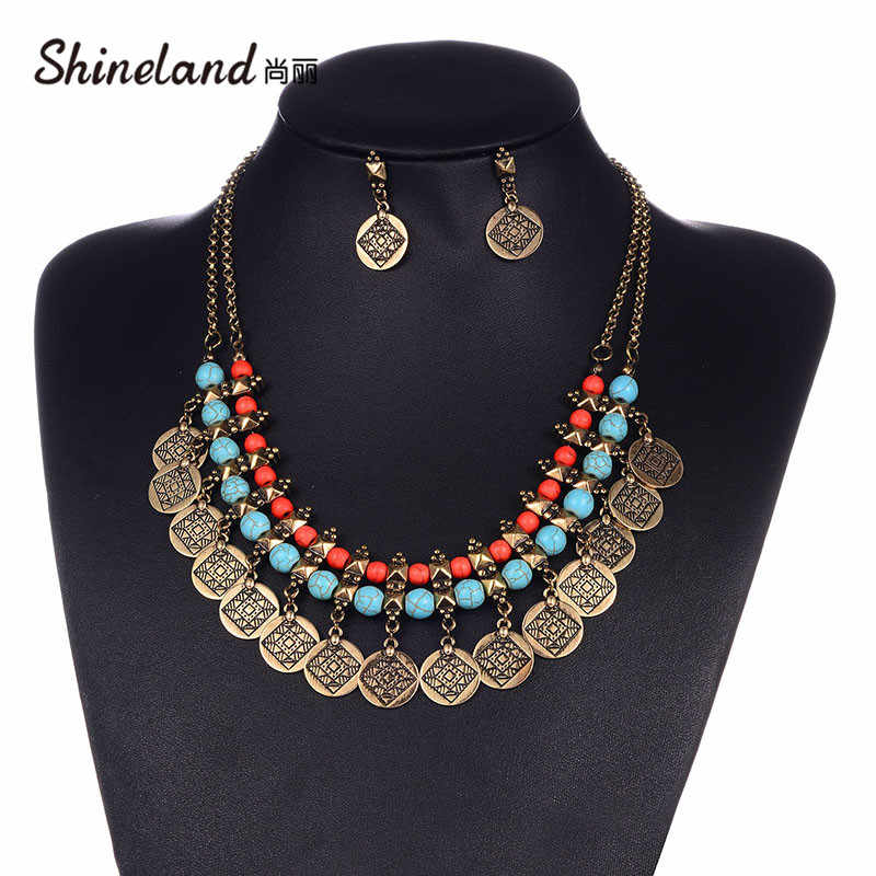 Shineland Tribal Big Gold Color Indian Coin Beads Tassel Necklaces Earrings Set Beachy Ethnic Turkish Boho Vintage Jewerly Sets