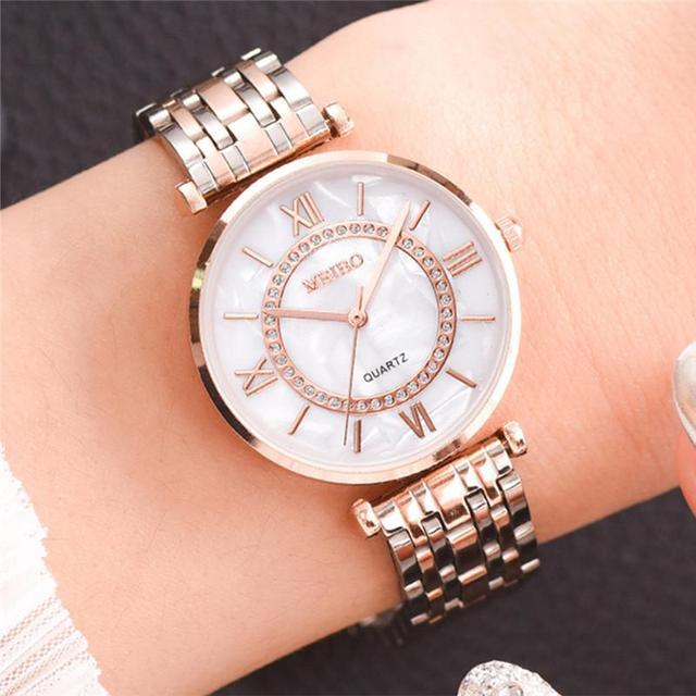 Relojes de lujo con diamantes para mujer, pulsera de acero inoxidable con correa de malla plateada, de cuarzo, 2020 6