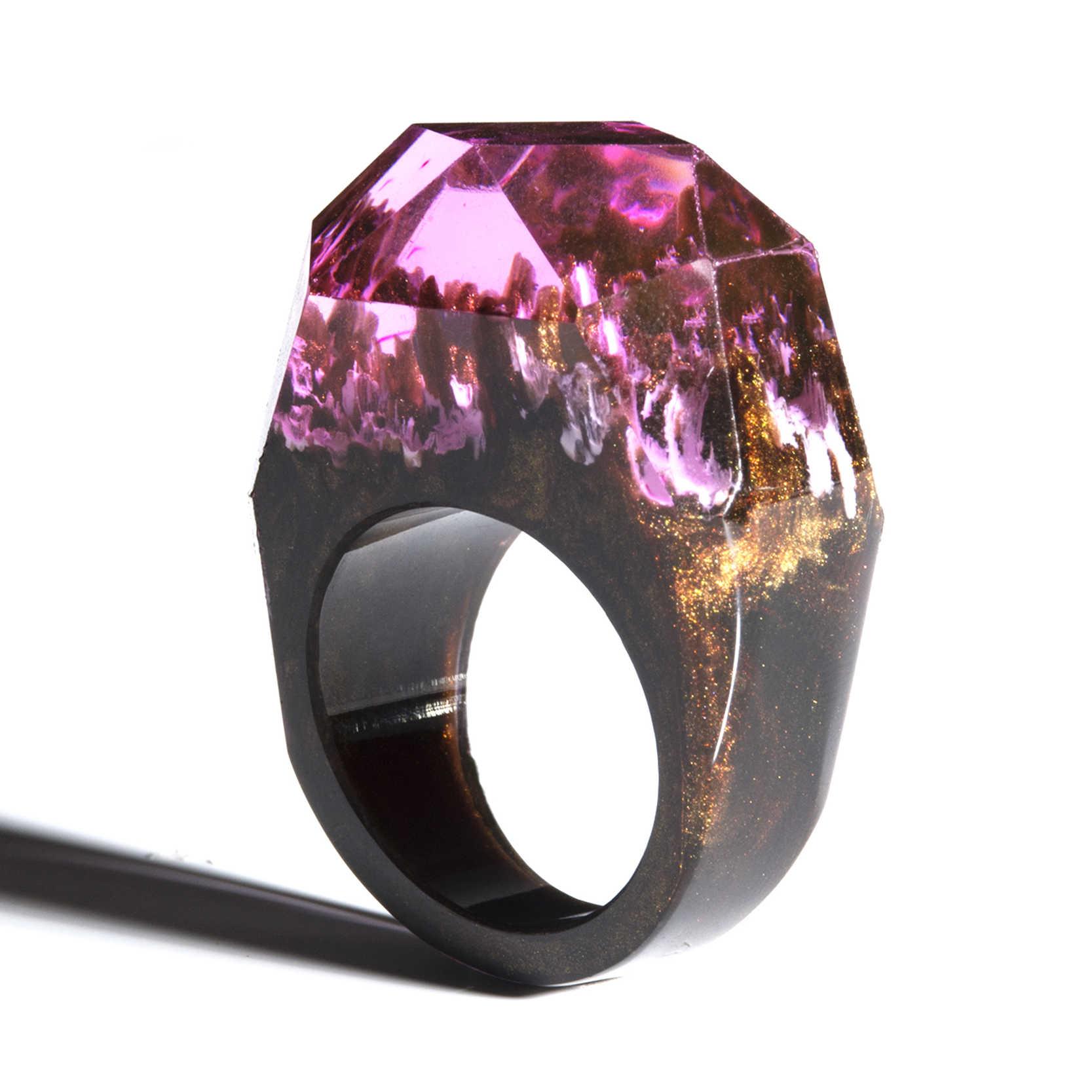 Ночное деревянное кольцо из смолы эко эпоксидные украшения из зеленого дерева тайна магического мира в крошечном пейзаже
