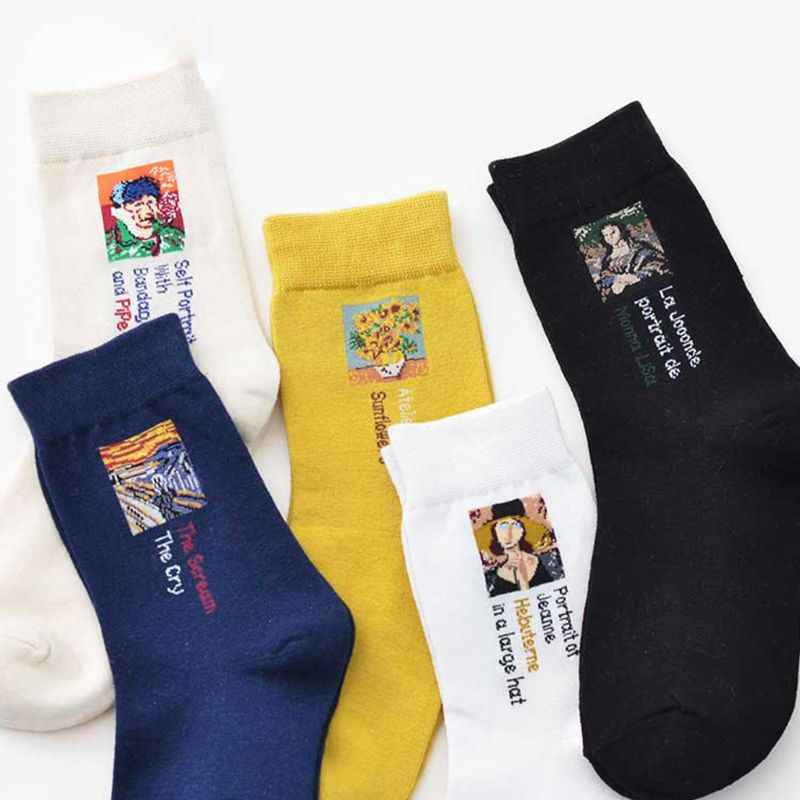 Women Socks Creative Paint Printed  Casual Style Over Ankle Soft Long Hosiery