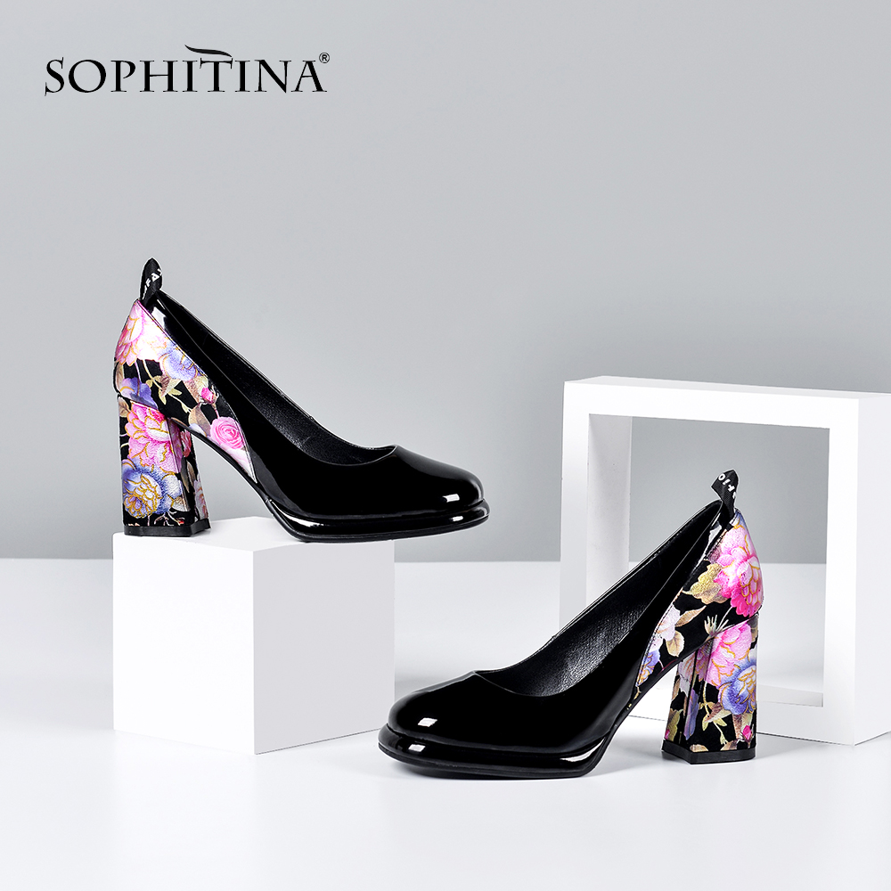 SOPHITINA Fashion Women Pumps 8.5cm Square Heel Elegant Flower Print Sheepskin Slip-On Shallow Shoes Mature Stylish Pumps SO411