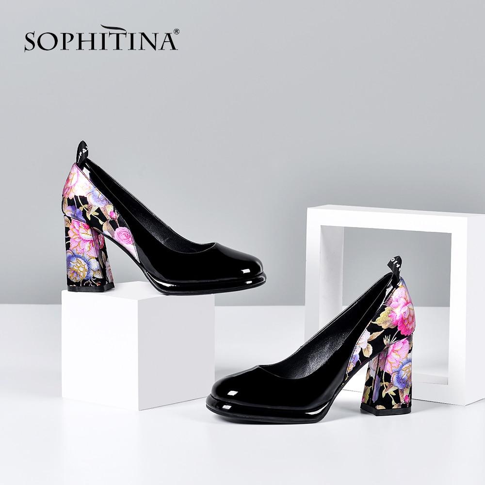SOPHITINA Fashion Women Pumps 8.5cm Square Heel Elegant Flower Print Sheepskin Slip-On Shallow Shoes Mature Stylish Pumps SO411