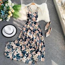 Bohemian Holiday Dress Cross Sling Backless Flower Printted Seaside Swing Long Dress Hot