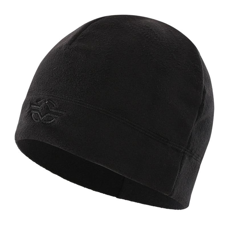 56-60 см уличная тренировочная камуфляжная Тепловая ветрозащитная флисовая шапка мужская зимняя велосипедная походная охотничья Толстая теплая армейская тактическая шапка - Цвет: Черный
