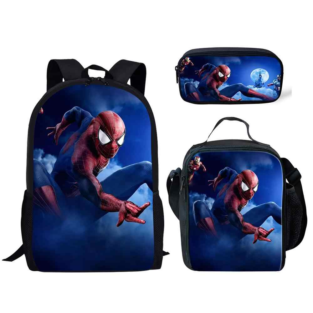 Thikin Avengers Spiderman School Bags for Boys 3pcs Students Preschool Backpack Bookbag With Lunch Boxes Satchel