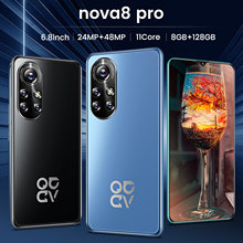 Global Version 4G/5G Nova8 Pro 6.8 Inch Network Cellphone HD Big Display 6500mAh 8+256GB 10Core Face Unlock Dual SIM Smartphones