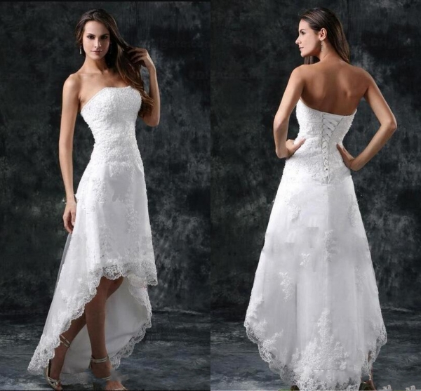 Wedding Dresses Sexy Strapless Appliques Lace High Low Little White Ivory Lace Up Back Summer Beach Short Bridal Gowns