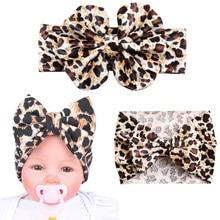 цена на Baby Girls Fashion Leopard Headbands Turban Bandana Hair Band Kids Soft Stretch Big Bow Bowknot Head Wrap Hair Band Accessories