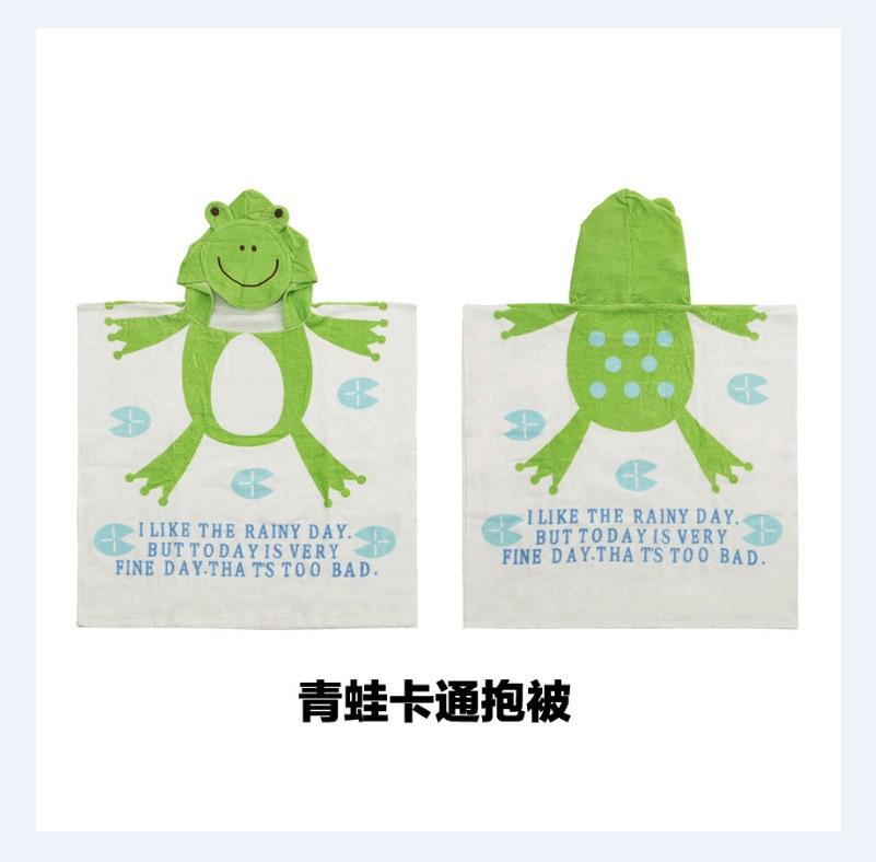 Little Frog Hot Selling INS Wechat Business Cartoon Bath Towel Cloak Pure Cotton Hooded Bath Towel