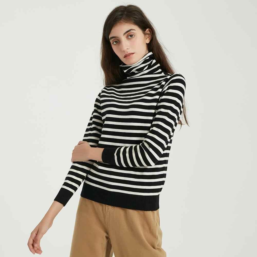 Wixra, женские мягкие полосатые вязаные футболки, Женская водолазка с длинным рукавом, базовая футболка, Осень-зима, классический джемпер, свитер, топы