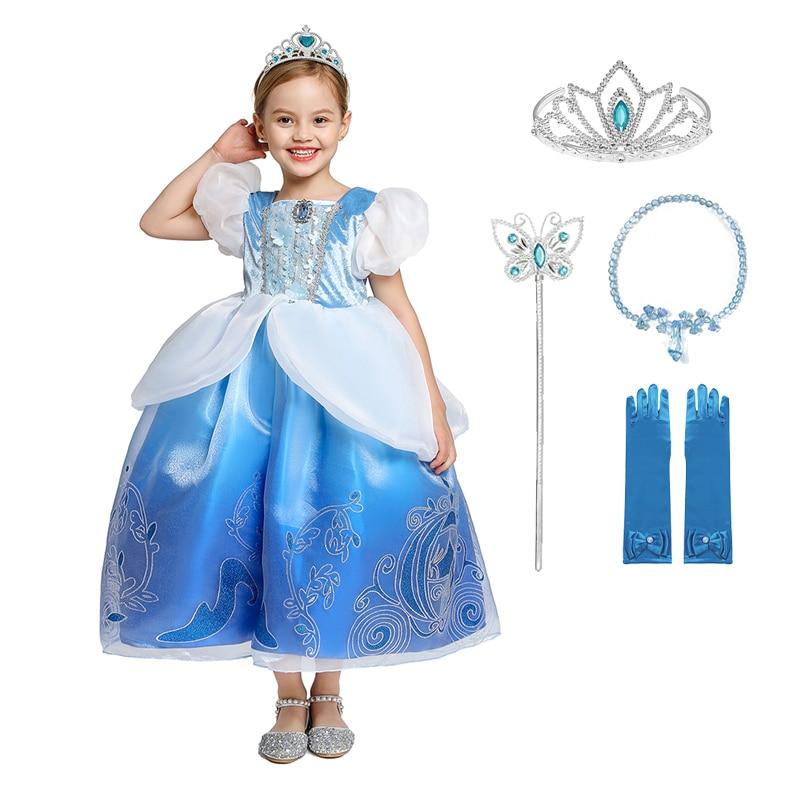 Платье принцессы Золушки, женское платье, бальное платье, Детские платья для девочек на Хэллоуин, косплей костюм, детская одежда
