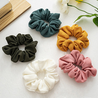 Women Solid Color Elastic Hair Bands Scrunchies Autumn and Winter Cloth Fabric Hair Ties Girls Sweet Headwear Hair Accessories