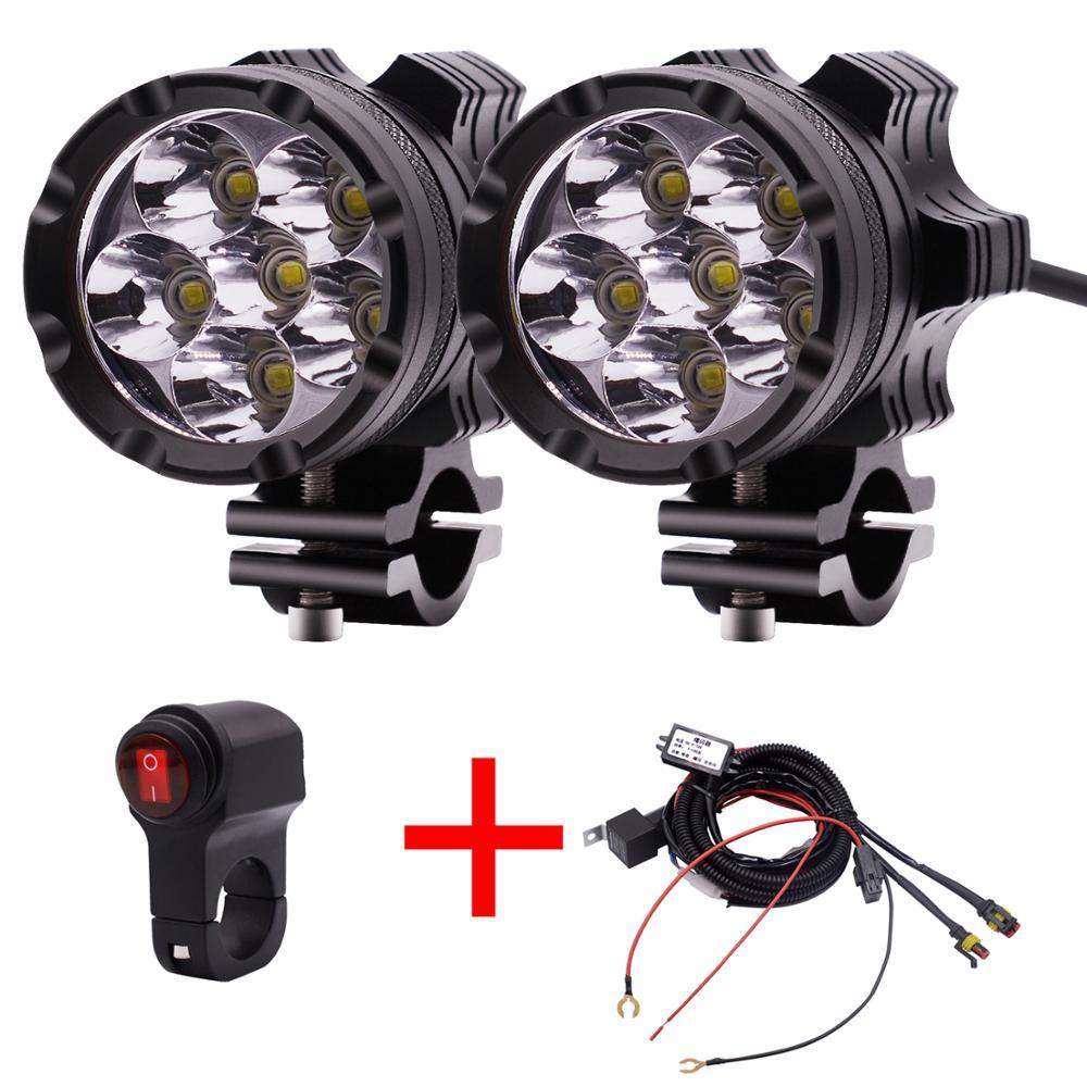 2PCS LED Motorcycle Lights 4000 LM Spotlight 12V 6 lamp beads Motorbike Headlight Waterproof Fog Bulb Super bright