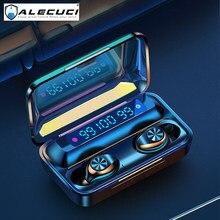 Alecuci F9-10 fones de ouvido sem fio bluetooth 5.0 fones graves profundos estéreo esportes fones com microfone display led bateria