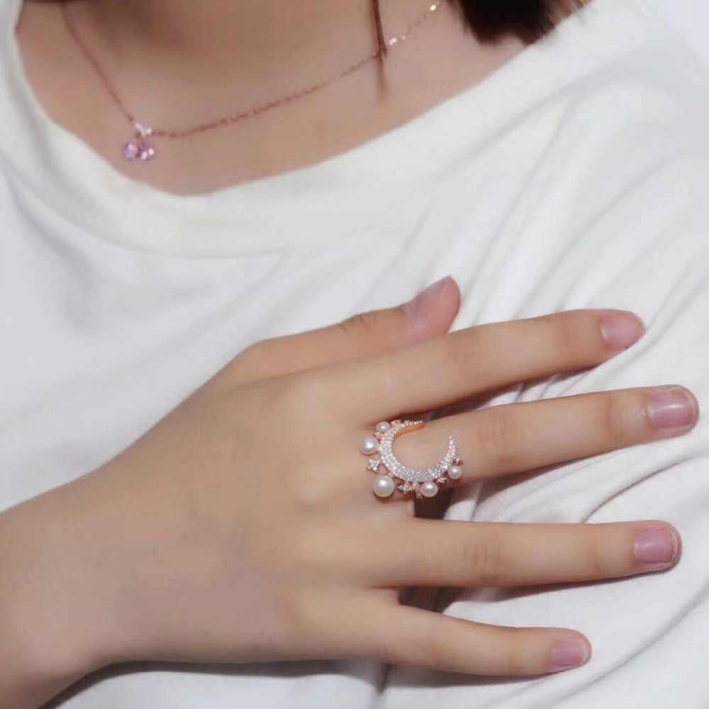Элегантное 925 пробы Серебряное кольцо, одна тысяча и одна ночь, звезда, луна, жемчужное кольцо, микро кубический цирконий, Женская коллекция, ювелирное изделие