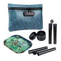 """FIREDOG Smell Proof Bag Kit 4 Items Tobacco Pouch with Lock Case Container 2""""Herb Ginder Metal Rolling Tray 4x Doob Tube"""