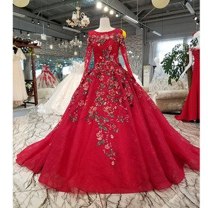 Image 1 - BGW HT33020 Color Lace Flower Beautiful Dress Quick Shipping From China Long Sleeve O neck Lace Up Back Cheap Evening Dress 2020