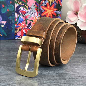 Vintage Brass Belt Buckle Genuine Leather Belt Male Ceinture Yellow Belt Cowboy Jeans Men' Belt Long 130cm Waist Belt MBT0006