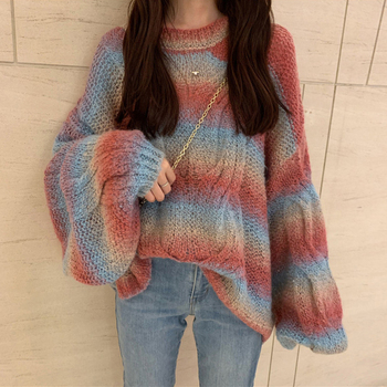 Rainbow Pullover Fashion Sweater Lantern Long Sleeve Knitted Jumper Ladies Sweaters O Neck Loose Tops Autumn Swetry Damskie lantern sleeve plain pullover sweater