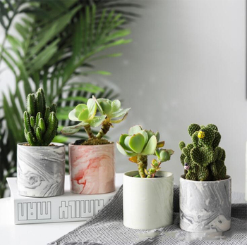 Marble Pattern Small Ceramic Flower Pot Bathroom Bedroom Departments Dining Room Entryway Living Room Outdoor Planters Rooms