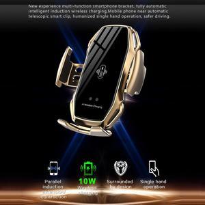 Image 3 - Araba kablosuz şarj cihazı 10W hızlı Qi kablosuz şarj iPhone 11 Pro XS XR çift indüksiyon araba telefon tutucu için samsung S9 Pius