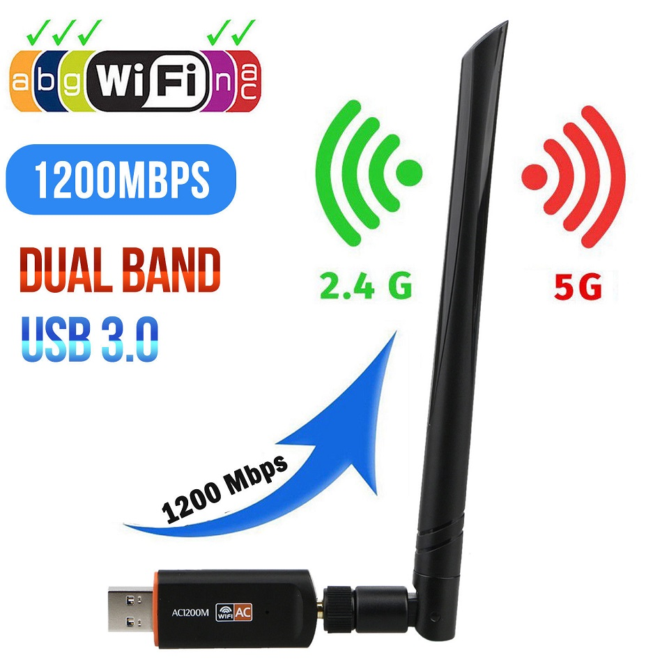 Wifi Adapter Wireless USB Free Driver 1200Mbps 600Mbps Lan USB Ethernet 2 4G 5G Dual Band Wi-fi Network Card  802 11n g a ac