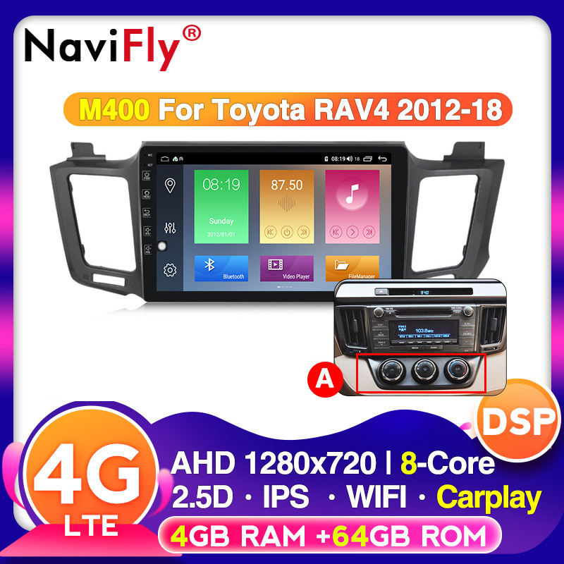 Android10 DSP IPS 4G RAM 64G ROM For <font><b>Toyota</b></font> <font><b>RAV</b></font> <font><b>4</b></font> 2013 <font><b>2014</b></font> <font><b>2015</b></font> <font><b>2016</b></font> <font><b>2017</b></font> Car Rdio Multimedia player 10inch touch screen image