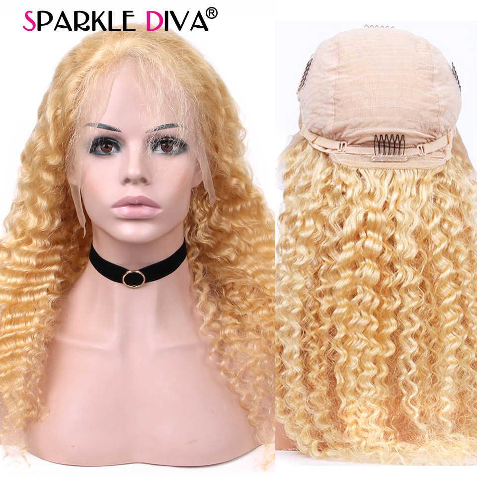 Peluca frontal de encaje Rubio 613 pelucas de cabello humano de onda profunda brasileñas Pre desplumado 150 densidad Remy sin pegamento frente humano pelucas de cabello