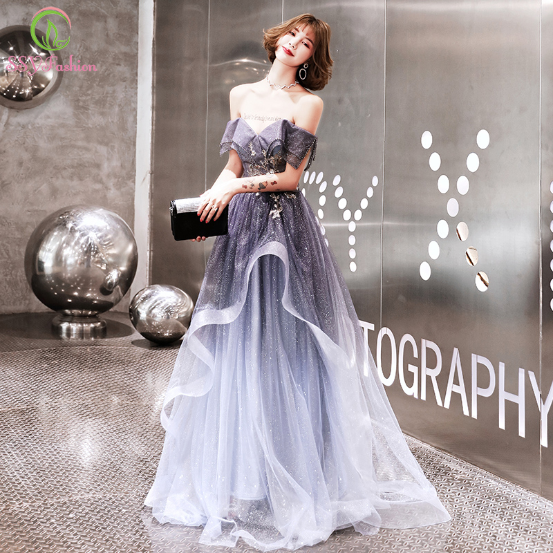 SSYFashion New Luxury Gradient Purple Long Evening Dress Boat Neck Sequins Beading Long Party Formal Gown Robe De Soiree