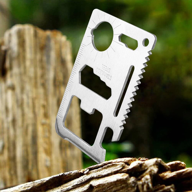 11 In 1 Mini Portable Stainless Steel Card Tactical Tool Outdoor Sports Camping Self-defense Emergency Survival Equipment