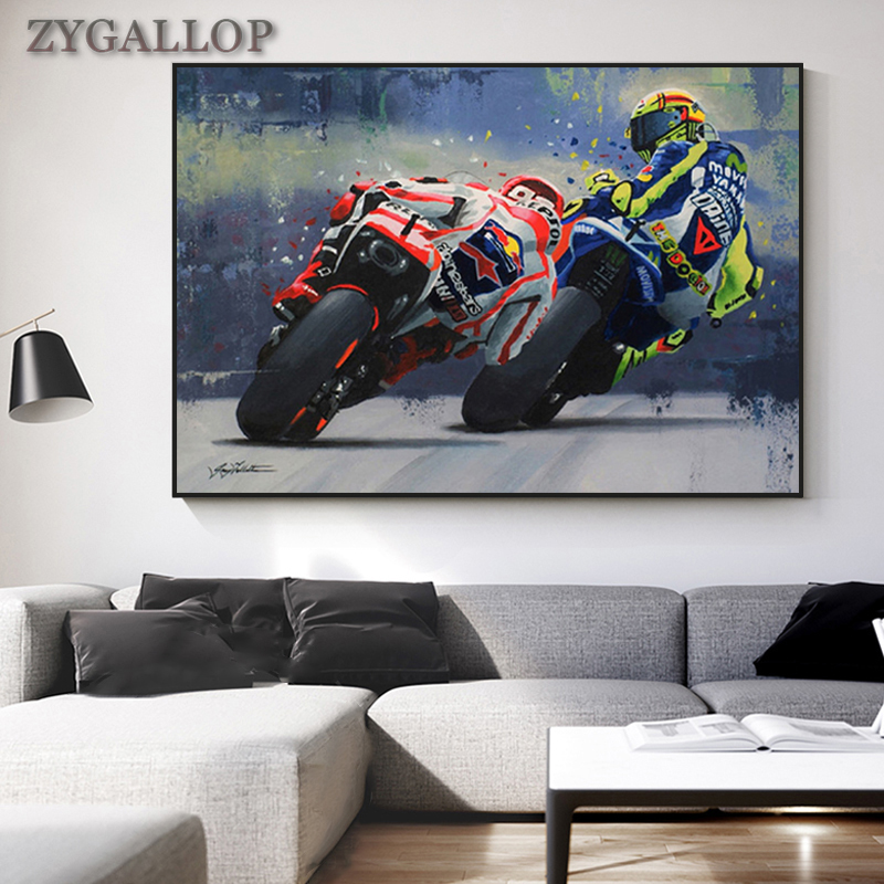 Valentino Rossies Poster Canvas Print Motorcycle Watercolor Oil Painting Wall Picture for Living Room Cuadro Bedroom Decor Mural