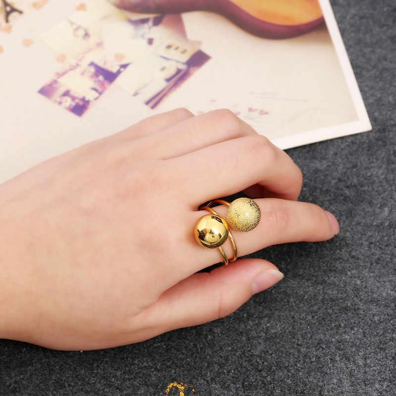 Ouverture noir argent anneaux ronds pour femmes bijoux gothique femme anneau Boho bague de fiançailles pour les femmes promesse de mariage anneaux cadeau