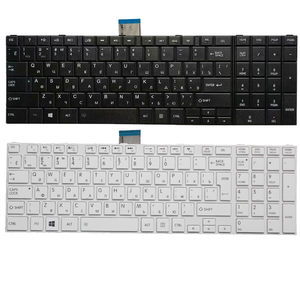 RU Keyboard For Toshiba Satellite C50-A C50-A506 C50D-A C55T-A  C55-A C55D-A Russian Laptop Keyboard White/black