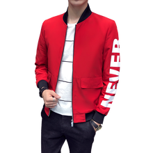 2019 spring  men's stand collar casual jacket men's letter print zipper casual jacket big pocket decoration men's slim jacket face print stand collar snap front jacket