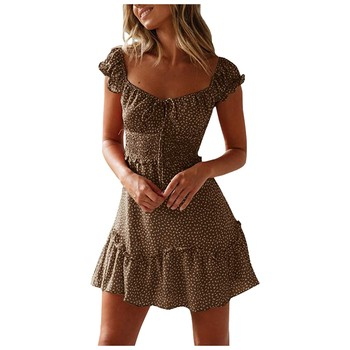 Women Clothing Summer Sexy Print Casual Dress Mini Dresses For Women Autumn Beach Casual Dresses Elegant Dresses Evening Mini Party Print Dresses Sexy Short Sleeve Slim Spring U Neck Dress Women Color: brown Size: S