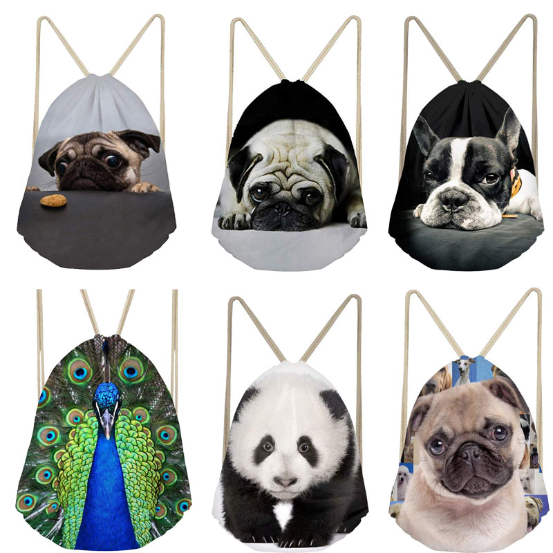 Drawstring Bag Custom Animal 3D Printed Women Men Drawstring Bags Backpack Shoulder Bag Travel Softback Feminina Daily Mochila