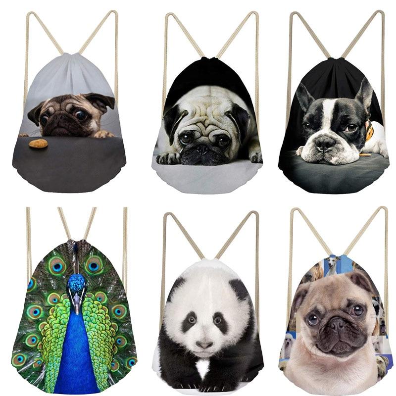 Drawstring Bag Custom Animal 3D Printed Women Men Drawstring Bags Backpack Shoulder Bag Travel Softback Feminina Daily Mochila