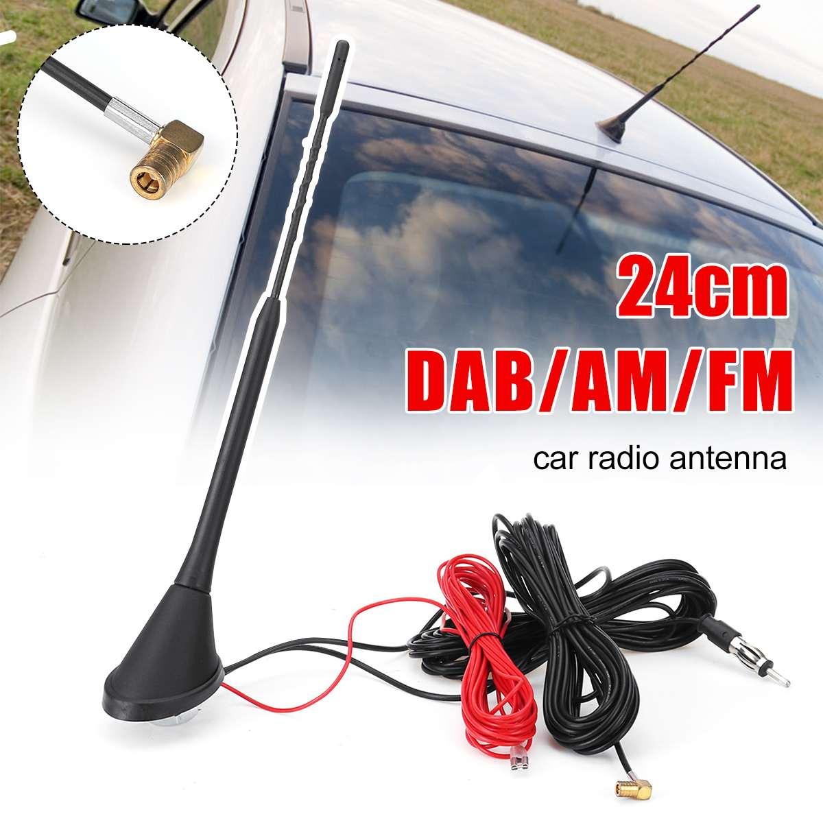 Универсальная верхняя цифровая DAB Антенна 24 см с креплением на крышу с усилителем для DAB AM/FM антенны для автомобильного радио антенна разъем ...