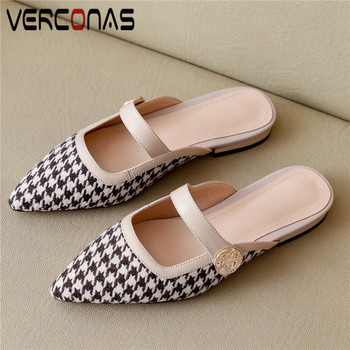 VERCONAS Women Pointed Toe Sandals Mules Genuine Leather Slippers Basic Shoes Thick Heels Summer Top Quality Concise Shoes Woman