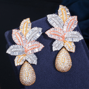 Image 2 - CWWZircons 3 Tone Gold Luxury Large Leaf Drop Flower Micro Cubic Zirconia Paved Naija Wedding Party Earring for Women CZ644