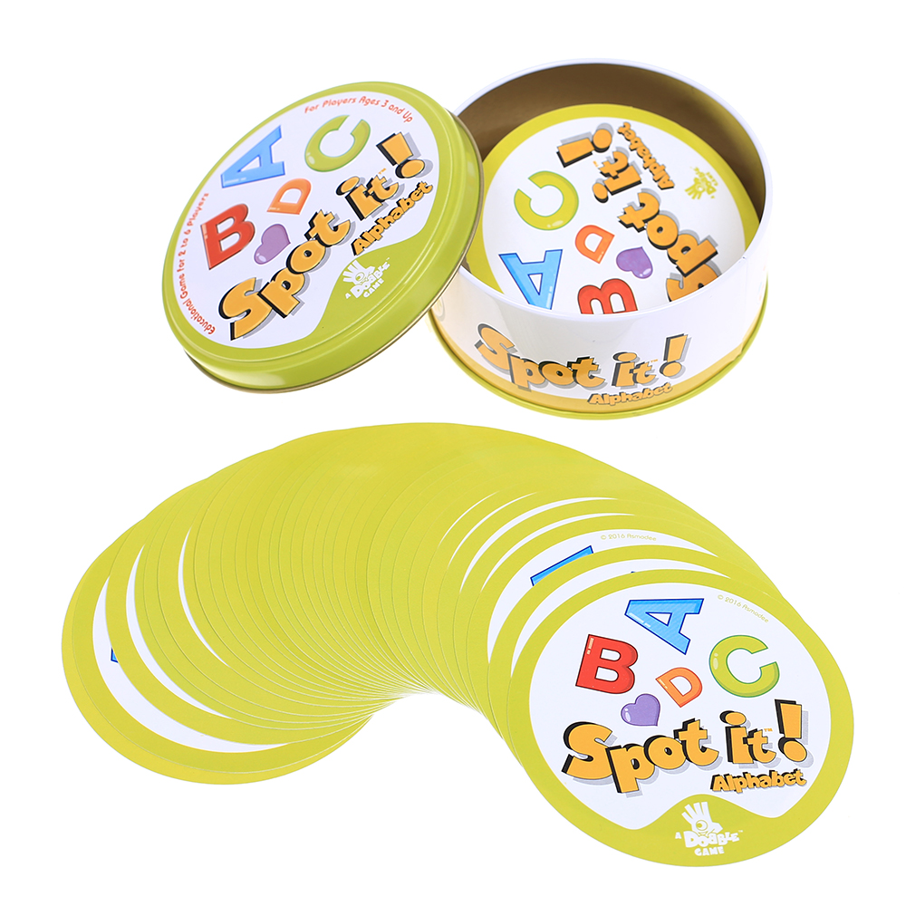 Dobble Spot Cards Hip Hop English Version Board Games High Quality Like It Edition Animals Metal Box Go Camping Sports
