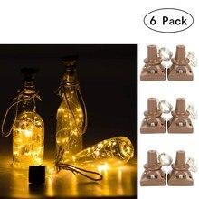 6 пакетов солнечные светильники в форме винных бутылок 20LED водонепроницаемый квадратный пробковый светильник
