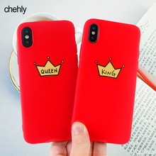Fashion Crown Phone Case for iPhone X XR XS Max 8 7 6 S Plus King and Queen Words Cases Soft Silicone Fitted Accessories Covers
