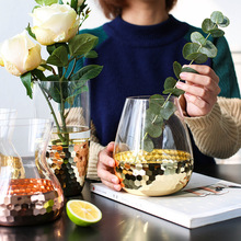 투명 한 꽃꽂이 물 병 홈 장식 웨딩 공장 장식 꽃병을 갖춘 유럽 손으로 만들어진 유리