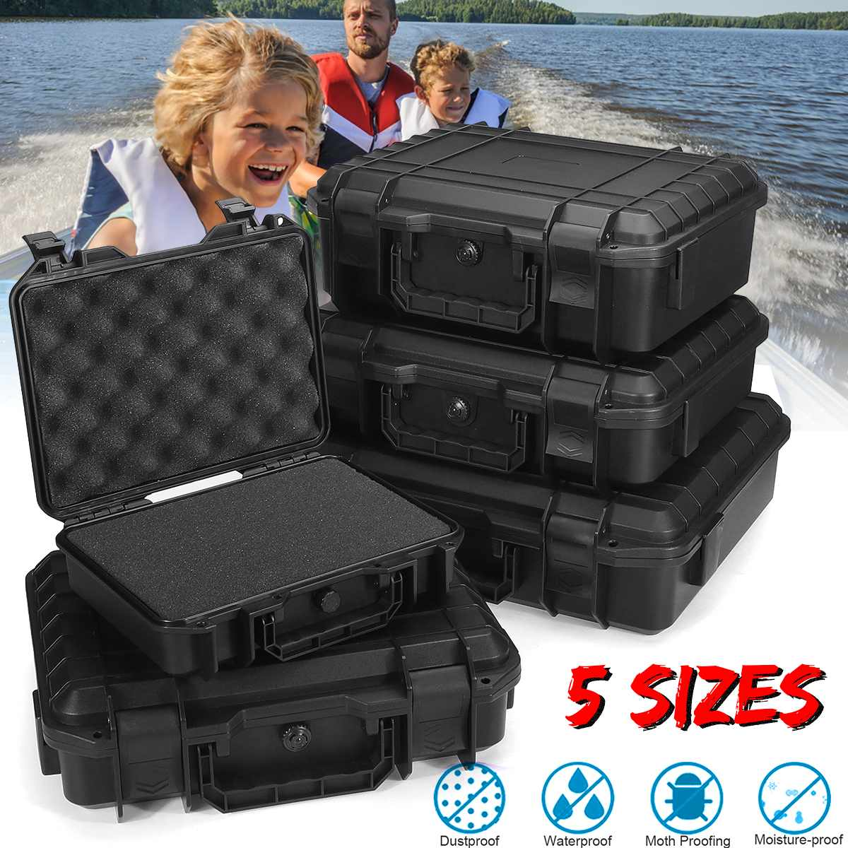 Protective Safety Instrument Tool Box Shockproof Storage Toolbox Sealed Tool Case Impact Resistant Suitcase Sponge