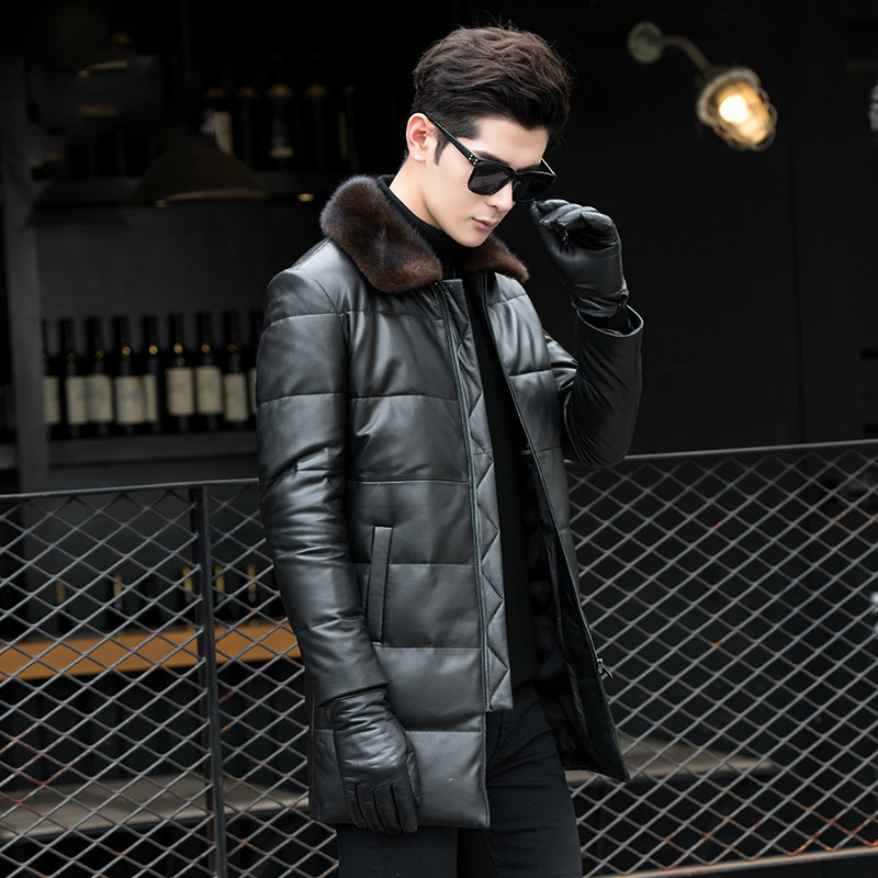 Genuine Leather Jacket Men Winter Duck Down Jacket Men Sheepskin Coat Mink Fur Collar Chaqueta Cuero Hombre 8027 KJ1503