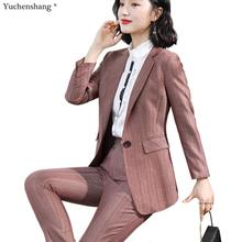 Fashion 2019 New Business Career Work Wine Pant Suits Single Button Blazers Jack